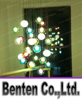 Wholesale Colored Lamp Cord - 2016 hot sale colorful glass ball bubble cluster ball Colored glass ball chandelier loft stairwell Pendant lamp LLFA1109