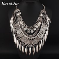 Bohème Gypsy Beachy Chic Colliers Layered Vintage Silver Chain Carving Coin Feuilles Plage Déclaration Long Colliers Pendentifs CE2854