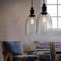 candeeiros de teto venda por atacado-Hot Retro Industrial DIY Lâmpada Do Teto Luz Pingente De Vidro Iluminação Home Decor Luminárias Edison Lâmpada E27 110 V-240 V
