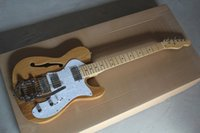 Discount telecaster guitar bodies - Free Shipping F Telecaster Semi Hollow Body F Hole Jazz Electric Guitar Natural Wood Big Rocker Chrome Hardware In stock