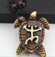 Wholesale Indian Wooden Pendants - Ethnic Style Wholesale 12pcs lots Imitation yak bone frog Sea turtle pendant wooden beads adjustable necklace