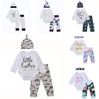 Wholesale colour pants boy for sale - Group buy Baby Boys Girls Christmas Clothing Sets Letter Printed Long Sleeve Romper Pants Hats Headband Outfits
