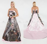 Wholesale strapless court train wedding online - Glamorous Camo A line Wedding dresses plus size formal pink satin court train bridal gowns strapless sexy lace up back wedding gowns