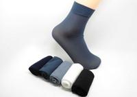 Wholesale Mens Silk Socks - Wholesale-10 Pairs Casual Summer mens dress socks Silk Solid Male Bamboo Fiber Elite Brand Socks calcetines hombre chaussette homme meias