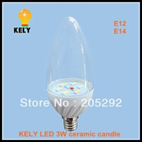 Wholesale E14 3w Led Clear Candle - 3W ceramic led candle with 6 pcs 5730 high bright AC DC 12V E12 clear cover