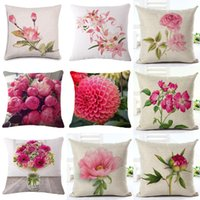 Wholesale green house sales - 45cm Fanshion Cotton Linen Fabric Throw Pillowcase Pink Flowers Hot Sale 18 Inch New Home Coffee House Sofa Back Decor Cushion Cover