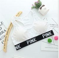 Wholesale Organic Fitness - pink bra Fitness Sport letter Bra Push Up Breathable Yoga Bras Underwear Running Sports Bra hot style