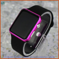 Wholesale Led Silicone Watch Band - hot New Square Mirror Face Silicone Band Digital Watch Red LED Watches Quartz Wrist Watch Sport Clock Hours