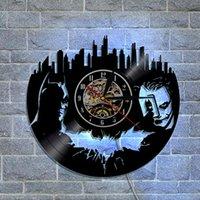 Wholesale Wall Stickers Batman - Led Dark Knight Batman Joker Best Handmade Gifts Fashion accessories Wall Art Sticker Modern Design Black Vinyl Record Wall DIY Clock