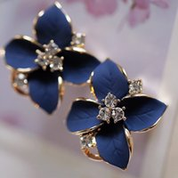 Neue elegante Pflanze Stud Noble Blue Flower Damen Gold Farbe Strass Ohrringe für Frauen Exquisite Piercing Clip Ohrringe