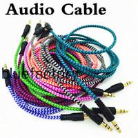 alto-falantes estéreo multimídia venda por atacado-Cabo Auxiliar de áudio trançado 1 m 3.5mm onda de extensão aux macho para masculino estéreo carro cabo de nylon jack para samsung telefone pc mp3 fone de ouvido falante