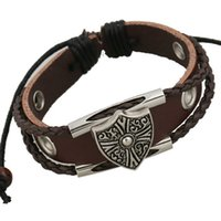 Wholesale Multi Strand Leather Bracelets - Fashion Charms Bracelets Handmade Infinity Multi-Stranded Triangle Cross Dark Red Leather Bracelets For Men Jewelry Wholesale