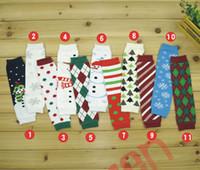 Wholesale Arm Warmers Cotton - Christmas Legging Warmer cotton socks Warmer Socks adult arm warmers 11 colors infant colorful Santa leg