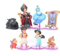 Nuevo 8pcs Aladdin y la lámpara mágica Princesa Jasmine Evil Monkey Tiger Fairytale Designer Collection Muñeca Set Cosplay Figura de acción de juguete
