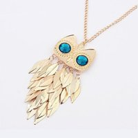 Wholesale Long Owl Eyes Necklace - New&Hot Womens Fashion Gold Leaves Blue Eye Owl Long Chain Sweater Necklace A2164 Free Shipping