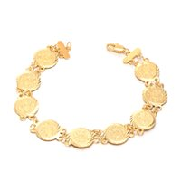 Atacado- Jóias de moda Vintage Chain Lucky Coin Bracelet para Amizade Yellow Gold Color Womens 7.87inch lot