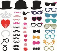 Conjunto de 44 Photo Booth Prop Bigote Eye Glasses Labios en una máscara de palo Funny Wedding Party Photography