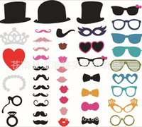 ingrosso baffi, labbra, occhiali, bastone-Set di 44 Photo Booth Prop Baffi Occhiali da vista Lips on a Stick Mask Divertente festa di matrimonio fotografia