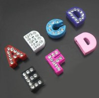 Wholesale Diy 8mm Jewelry Slide Letters - DIY Bracelets 8MM Loose Beads A to Z Letters Beads Colorful Lots Rhinestone Jewelry Accessories Slide Letter Charm Bracelet D010