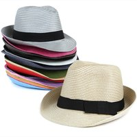 Wholesale Pure Jazz - Wholesale-Brand New Pure Color Fedora Hat For Men Women Jazz Cap Chapeu Feminino Floppy Hat Straw hat 15 Colors Fashion Formal Hat