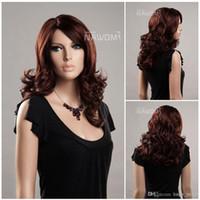 Wholesale Long Kanekalon - dark brown hair wigs for women medium long wigs Synthetic fiber of 100% Kanekalon 1pc Lot Free Shipping 0729ZL977-33H130
