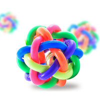 Wholesale dog ball rope toys - Durable Dog Rubber Ball Braided Rope With Bell Dogs Chew Knot Toys Intelligence Develops Pet Toys Fashion 4 26hz B