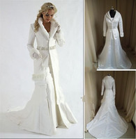 Wholesale Coat 16w - Wholesale - fur A line coat strapless satin White Winter Wedding Dress Cloak Chapel Train Satin Long Sleeve wedding Coat for bride