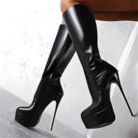 las mejores botas para el invierno al por mayor-Botas negras de moda de la venta caliente para las mujeres Botas de invierno de descuento Botas de cuero negro de la PU del mejor diseño del café Botas de la rodilla BLP1003-1
