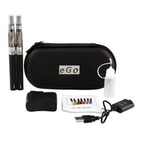 Wholesale Dual Cigarette Starter Kit Ego - Dual EGO CE4 Kit Double Starter Kit 11 Colors E Cigarette 650 900 1100mAh eGo t battery 1.6ml CE4 Clearomizer E Cig eGo Case Kit IN STOCK