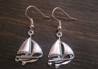 Wholesale Wholesale Sail Boats - Hot ! *NAUTICAL SAILING BOAT* SP Earrings Tibetan Silver Sailor Tattoo Style NEW silver Fishhook Ear Wire (z926)