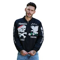 esqueleto bordado al por mayor-Chaquetas de los hombres Otoño High Street Clothing Marca Tide Hombres Bomber jacket Coat Skeleton Eagle Bordado Outwear Varsity College Black Outerwea
