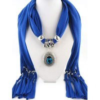 Wholesale Women Jewelry Scarves - Pendant scarf jewelry with beads Mixed 10 Design Colorful Scarves Charms Cross Necklace Via DHL 1805004