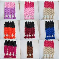 Wholesale Orange Hair Weave - Kanekalon Jumbo Braid Hair Senegalese Twist 82inch 165grams Black&Orange Ombre two tone color xpression synthetic Braiding hair extensions