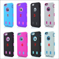 Wholesale Heavy Duty Hybrid Shock - For iPhone 6 4.7 6 Plus 5.5 Colorful Robot Hybrid Anti Shock Armor Heavy Duty PC Silicone back case DHL free
