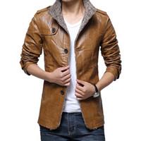 Wholesale Epaulette Jackets Collar - Designer jacket Winter Warm PU Leather Wool Men Jackets Coats Thicken Long Style Epaulette Stand Collar Slim Fit Brand Casual Outwear Coat