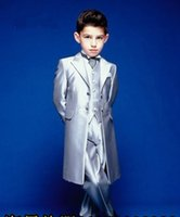 Wholesale Men Suit Color Chart - 2017 Boy's Formal Occasion Silver long Tuxedos Custom Made Little Men Suits New Children Kids Wedding Party Tuxedos
