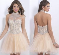 Wholesale Cute Pink Crystals - Cute Short Homecoming Dresses Backless A Line Halter Sleeveless Mini Llength Beading Pattern Tiered Christmas Dress Evening Gowns 2015 new