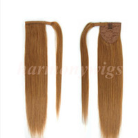 Wholesale Golden Blonde Clip Hair Extensions - Top quality 100% Human Hair ponytail 20 22inch 100g #14 Dark Golden Blonde Double Drawn Brazilian Malaysian Indian hair extensions 20colors