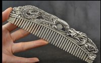 Wholesale Dragon Phoenix - Collectible Handwork Old Miao Silver Carving Dragon Phoenix Wonderful Comb