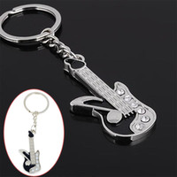 Wholesale Crystal Guitar Keyrings - 12pcs Hot Chic Keychain Mini Guitar Key Ring Keyring Chain Clear Crystal Cute Gift NEW instrument souvenirs musica llaveros Free