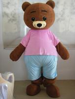 gerçek kıyafet kostümleri toptan satış-100% gerçek fotoğraf güzel pembe bez teddy bear maskot kostüm yetişkin satılık giymek için