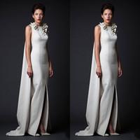 design slit dress venda por atacado-Famoso Projeto Krikor Jabotian Longo Até O Chão De Cetim Formal Vestidos de Noite com Apliques Sexy Frente Fenda Bauquet Jantar Fiesta Vestidos