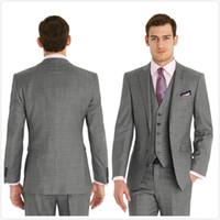 Wholesale Slim Light Grey Wedding Suits - Light Grey 2015 Groom Tuxedos Two Buttons Notch Lapel Slim Fit Mens Wedding Suit Groomsman Bridesman Formal Mens Suit Jacket+Pants+Vest+Tie
