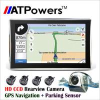 Wholesale Gps Navigation Back - car dvr 7 inch GPS Navigation 800MHZ Bluetooth AV-in Car video parking sensor system 170 degree wireless HD CCD rearview back up Camera