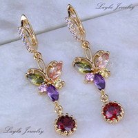 Wholesale Vintage Yellow Earrings - Vintage Multicolor Butterfly Earrings, 18K Yellow Gold Plated Jewelry Red Garnet and Topaz Womens Drop Earrings Free Gift Bag J0153