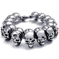 Wholesale Heavy Wrist - Mens Large Heavy Stainless Steel Bracelet Link Wrist Silver Black Skull Cross Gothic