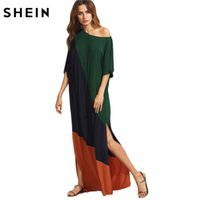SHEIN Donna Casual Dress asimmetrico spalla spacco laterale tagliato e cucire Tee Dress Mezza manica color block t-shirt dress q1113