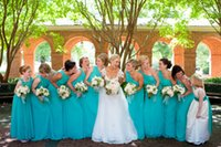 Wholesale Turquoise Bridesmaid Dresses Design - 2015 Cheap Turquoise Bridesmaid Dresses Unique Design One Shoulder Zipper Back Long Plus Size Chiffon Summer Beach Maid of Honor Dresses