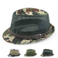 Wholesale mens fedoras - Wholesale-2015 new mens hats fedoras, British style cool in summer breathable mesh mesh hat, camouflage hat Fashionable