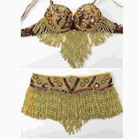 Wholesale Bra Top Belt - Gold silver Women Dancewear Performance Eastern Style Sequined Beaded Top 2 Pieces Costumes for Belly Dance Bra and Belt Set